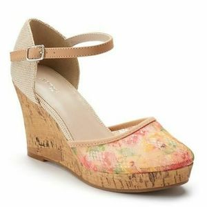 Floral Lace Wedge Platform Sandals